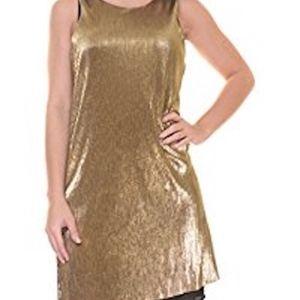 Bar III Gold Ribbed Sleeveless Dress L